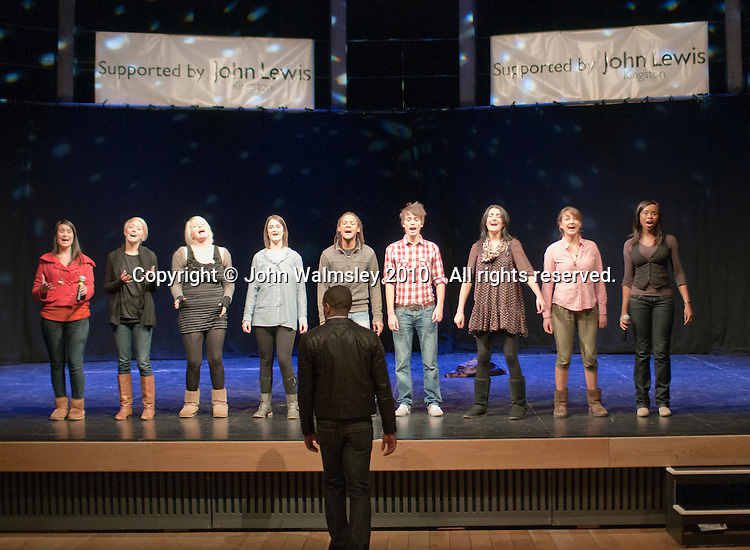 """The ACM Gospel Choir rehearse under their Musical Dirtector, Mark de Lisser.  Special Olympics Surrey put on a show,   """"Beyond the Stars"""", at the Rose Theatre, Kingston upon Thames to raise money for the  SOGB team.  The Special Olympics are for athletes with learning disabilities."""