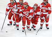 Louise Warren (BU - 28), Jordan Juron (BU - 27), Isabel Menard (BU - 20), Lillian Ribeirinha-Braga (BU - 15), Caroline Campbell (BU - 16) - The Boston College Eagles tied the visiting Boston University Terriers 5-5 on Saturday, November 3, 2012, at Kelley Rink in Conte Forum in Chestnut Hill, Massachusetts.