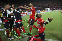 MEDELLÍN -COLOMBIA-19-JUNIO-Christian Marrugo celebra su segundo  gol contra Junior.2016.Acción de juego entre los equipos de fútbol Medellín y Junior   durante partido por la final vuelta de la Liga Águila I 2016 jugado en el estadio Atanasio Girardot ./  Christain Marruga celebratres his second goal against Junior.Action game between  Medellin and Junior  during the match for final the Aguila League I 2016 played at Atanasio Girardot  stadium in Medellin . Photo: VizzorImage / Felipe Caicedo  / Staff