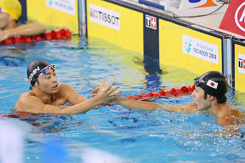 (L to R) <br /> Ryosuke Irie, <br /> Kosuke Hagino (JPN), <br /> SEPTEMBER 25, 2014 - Swimming : <br /> Men's 200m Backstroke Final <br /> at Munhak Park Tae-hwan Aquatics Center <br /> during the 2014 Incheon Asian Games in Incheon, South Korea. <br /> (Photo by YUTAKA/AFLO SPORT)