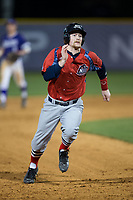 Cody Kramer (3) of the NJIT Highlanders hustles towards third base against the High Point Panthers during game two of a double-header at Williard Stadium on February 18, 2017 in High Point, North Carolina.  The Highlanders defeated the Panthers 4-2.  (Brian Westerholt/Four Seam Images)