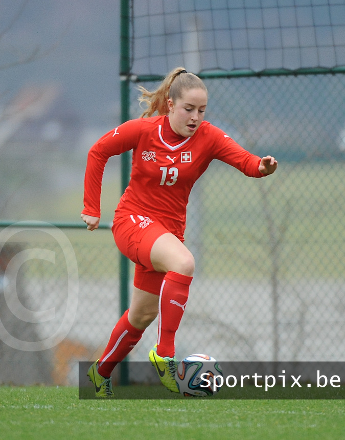 20160211 - TUBIZE , BELGIUM : Switzerland's Annina Reuber pictured during the friendly female soccer match between Women under 17 teams of  Belgium and Switzerland , in Tubize , Belgium . Thursday 11th February 2016 . PHOTO SPORTPIX.BE DIRK VUYLSTEKE