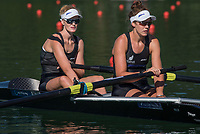 Lucerne, SWITZERLAND, 13th July 2018, Friday, NZL W2-, Bow, Grace PENDERGAST, and Kerri GOWLER, relax, before the start of their heat at the  Area, FISA World Cup series, No.3, Lake Rotsee, Lucerne, © Peter SPURRIER,
