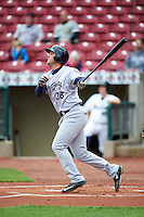 Kane County Cougars designated hitter Trevor Mitsui (36) during the first game of a doubleheader against the Cedar Rapids Kernels on May 10, 2016 at Perfect Game Field in Cedar Rapids, Iowa.  Kane County defeated Cedar Rapids 2-0.  (Mike Janes/Four Seam Images)