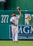 29 June 2017: Washington Nationals outfielder Brian Goodwin pulls in a fly ball for the first out of the 8th inning against the Chicago Cubs at Nationals Park in Washington, DC. The Cubs rallied against the Nationals to win 5-4 and split their 4-game series. Mandatory Credit: Ed Wolfstein Photo *** RAW (NEF) Image File Available ***