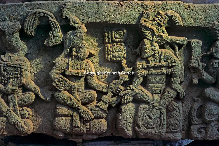 Temple 16, Maya; Copan; Honduras; Ancient Cultures; Americas; Ruta Maya, Altar Q, Ruler, Yax Kuk Mo, baton, 16 hereditary rulers of Copan