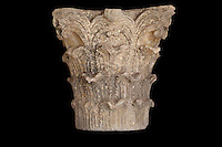 Large Roman Corinthian capital in limestone, the only one from the site with 3 layers of acanthus leaves, from Volubilis, Northern Morocco. Volubilis was founded in the 3rd century BC by the Phoenicians and was a Roman settlement from the 1st century AD. Volubilis was a thriving Roman olive growing town until 280 AD and was settled until the 11th century. The buildings were largely destroyed by an earthquake in the 18th century and have since been excavated and partly restored. Volubilis was listed as a UNESCO World Heritage Site in 1997. Picture by Manuel Cohen