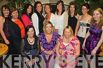 Here Come The Girls: Linda Sheridan, Killarney (seated centre) with her hens having a ball at her hen party in Kate Browne's Pub on Saturday evening before she jets off to Portugal to marry David Prenderville, Abbeyfeale on June 1st. Pictured seated front l-r: Noreen O'Dea, Linda Sheridan and Aoife Kingston. Back l-r: Joanne McCarthy, Hillary Kelleher, Melissa Cournane, Georgina Mackessy, Sandra Sheridan O'Mahony, Carrie Clifford, Sheila Carew, Sheila Murphy and Ciara Kelleher.