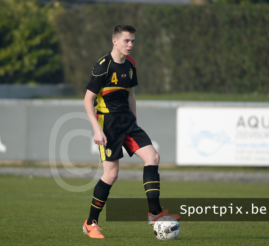 20140314 - HEIST , BELGIUM : Belgian Steve Ryckaert pictured during a friendly soccer match between the Under16 soccerteams of Belgium and Serbia , Friday 14 March 2014 in Heist . PHOTO DAVID CATRY