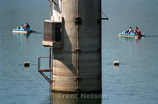 People on paddle-boats at the Lafayette Reservoir<br />