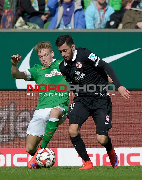 04.04.2015, Weserstadion, Bremen, GER, 1.FBL, Werder Bremen vs 1. FSV Mainz 05, im Bild Janek Sternberg (Bremen #37), Yunus Malli (Mainz #11)<br /> <br /> Foto &copy; nordphoto / Frisch