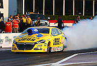 Apr 25, 2014; Baytown, TX, USA; NHRA pro stock driver Jeg Coughlin during qualifying for the Spring Nationals at Royal Purple Raceway. Mandatory Credit: Mark J. Rebilas-