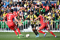 Roy Krishna in action during the A League - Wellington Phoenix v Adelaide United at Hutt Recreational Ground, Lower Hutt, New Zealand on Saturday 7 March 2015. <br /> Photo by Masanori Udagawa. <br /> www.photowellington.photoshelter.com.