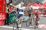 Alberto Contador (c), Joaquin Purito Rodriguez (r) and Alejandro Valverde winner during the stage of La Vuelta 2012 between Lleida-Lerida and Collado de la Gallina (Andorra).August 25,2012. (ALTERPHOTOS/Acero)