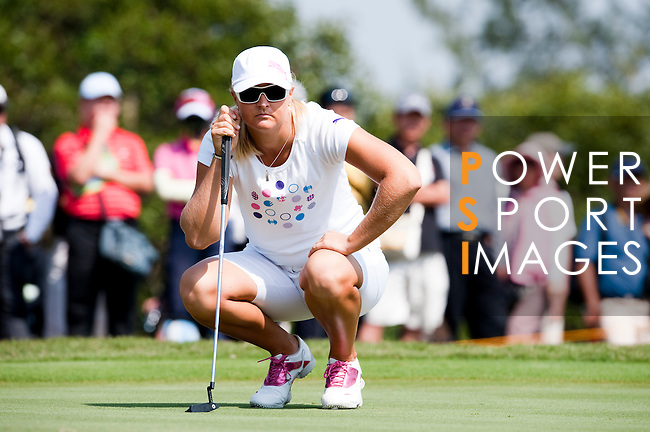TAOYUAN, TAIWAN - OCTOBER 22: Anna Nordqvist of Sweden lines up a putt on the 1st green during day three of the LPGA Imperial Springs Taiwan Championship at Sunrise Golf Course on October 22, 2011 in Taoyuan, Taiwan. Photo by Victor Fraile / The Power of Sport Images