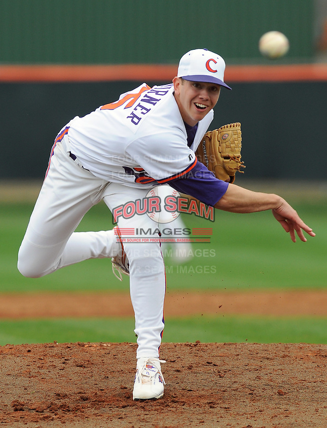 Clemson righthander Graham Stoneburner got the win in a game between the Mercer Bears and Clemson Tigers at Doug Kingsmore Stadium on Feb. 24, 2008, in Clemson, S.C. Clemson won 10-3. Photo by:  Tom Priddy/Four Seam Images