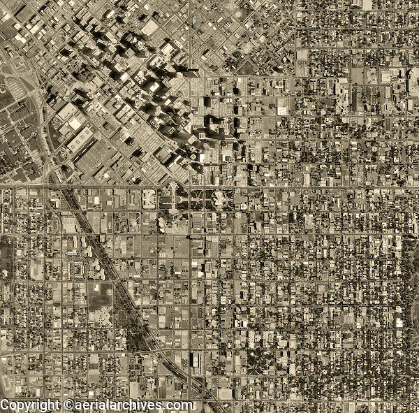 historical aerial photograph Denver, Colorado, 1993