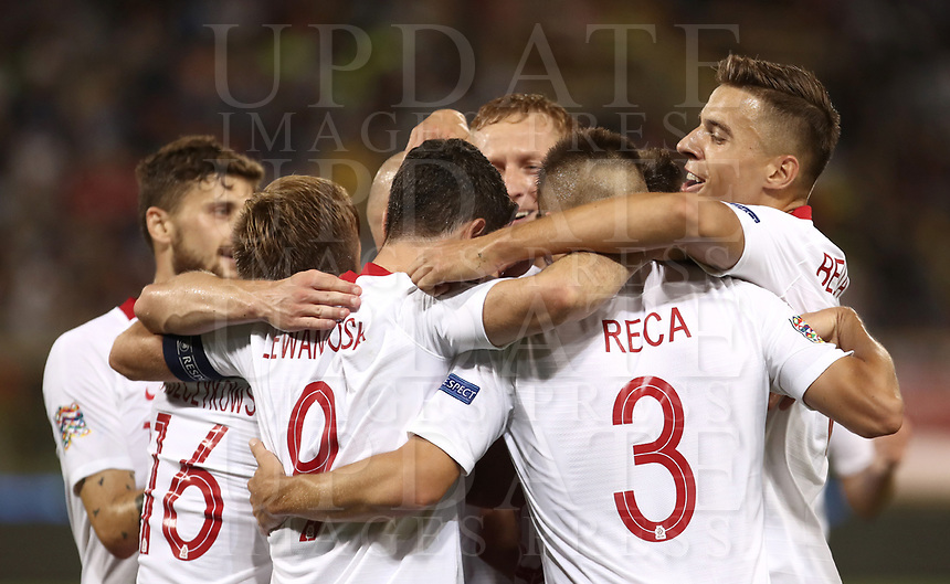 Football: Uefa Nations League match Italy vs Poland, Renato Dall'Ara stadium, Bologna, Italy, September 7, 2018. <br /> Poland's Piotr Zielinski celebrates after scoring with his teammates during the Uefa Nations League match between Italy and Poland at the Renato Dall'Ara stadium, Bologna, Italy, September 7, 2018. <br /> <br /> UPDATE IMAGES PRESS/Isabella Bonotto