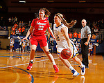 BROOKING, SD - NOVEMBER 13:  Macy Miller #12 from South Dakota State drives against Morgan Bartner #22 form Marist in the first half of their game Friday night at Frost Arena in Brookings. (Photo by Dave Eggen/Inertia)