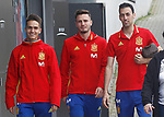 Spain's Denis Suarez, saul Niguez and Sergio Busquets after training session. March 21,2017.(ALTERPHOTOS/Acero)