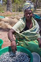 Kizimkazi, Dimbani, Zanzibar, Tanzania.  Woman with Anchovies.