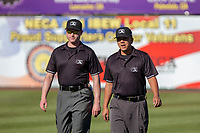 Umpires Luis Hernandez and Darius Ghani prior to the 2018 California League All-Star Game at The Hangar on June 19, 2018 in Lancaster, California. The North All-Stars defeated the South All-Stars 8-1.  (Donn Parris/Four Seam Images)