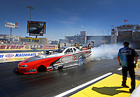 Apr. 5, 2013; Las Vegas, NV, USA: (Editors note: Special effects lens used in creation of this image) NHRA top alcohol funny car driver Shane Westerfield during qualifying for the Summitracing.com Nationals at the Strip at Las Vegas Motor Speedway. Mandatory Credit: Mark J. Rebilas-
