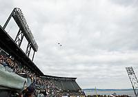 SAN FRANCISCO, CA - December 29, 2012: Navy Hornets flyover before the Navy Midshipmen vs the Arizona State Sun Devils in the 2012 Kraft Fight Hunger Bowl at AT&T Park in San Francisco, California. Final score Navy 28, Arizona State 62.
