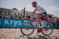Jasper Stuyven (BEL/Trek-Segafredo) off to the start early, so to start the race in front<br /> <br /> Stage 9: Arras Citadelle &gt; Roubaix (154km)<br /> <br /> 105th Tour de France 2018<br /> &copy;kramon