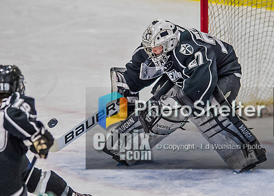1 February 2015: Providence College Friar Goaltender Sarah Bryant, a Junior from Bethlehem, PA, makes a third period save against the University of Vermont Catamounts at Gutterson Fieldhouse in Burlington, Vermont. The Friars fell to the Lady Cats 7-3 in Hockey East play. Mandatory Credit: Ed Wolfstein Photo *** RAW (NEF) Image File Available ***
