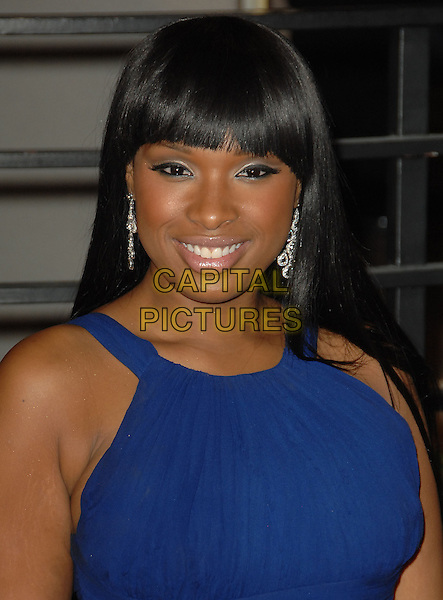 JENNIFER HUDSON.The 2010 Vanity Fair Oscar Party held at The Sunset Tower Hotel in West Hollywood, California, USA..March 7th, 2010.oscars headshot portrait blue fringe bangs hair eyeshadow make-up beauty dangling silver earrings .CAP/RKE/DVS.©DVS/RockinExposures/Capital Pictures.