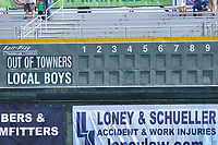The scoreboard shows something different that the usual team names prior to an Iowa Cubs game against the Round Rock Express at Principal Park on April 16, 2017 in Des  Moines, Iowa.  The Cubs won 6-3.  (Dennis Hubbard/Four Seam Images)