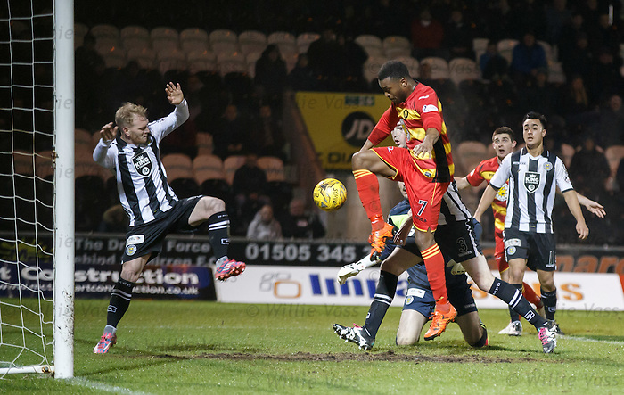 David Amoo knocks in the second goal for Partick Thistle
