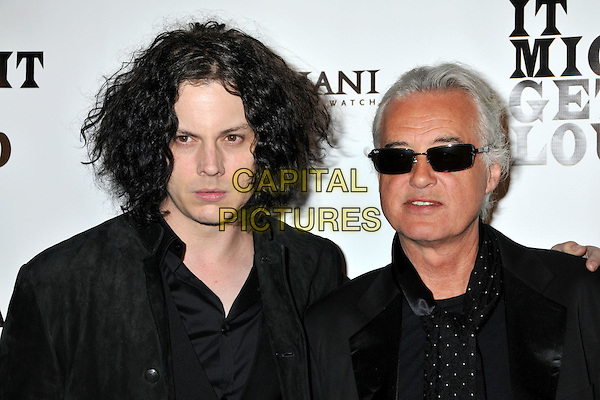 "JACK WHITE (The Dead Weather) & JIMMY PAGE (Led Zeppelin).""It Might Get Loud"" Los Angeles Premiere After Party held at the Palomar Hotel, Westwood, CA, USA..June 19th, 2009.headshot portrait White Stripes pale skin jacket arm over shoulder grey gray shirt black sunglasses shades.CAP/ADM/BP.©Byron Purvis/AdMedia/Capital Pictures."