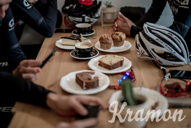 coffee ride  happiness on the rest day at Team Trek-Segafredo winter training camp<br /> <br /> january 2017, Mallorca/Spain