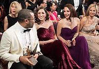 Oscar&reg; winner for Original Screenplay, Jordan Peele, Chelsea Peretti, Ashley Judd and Mira Sorvino at the 90th Oscars&reg; at the Dolby&reg; Theatre in Hollywood, CA on Sunday, March 4, 2018.<br /> *Editorial Use Only*<br /> CAP/PLF/AMPAS<br /> Supplied by Capital Pictures
