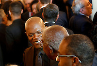 Actor Samuel Jackson speaks with guests during a reception in honor of the opening of the Smithsonian National Museum of African American History and Culture listens, in the Grand Foyer of the White House September 23, 2016, Washington, DC. <br /> Credit: Aude Guerrucci / Pool via CNP /MediaPunch