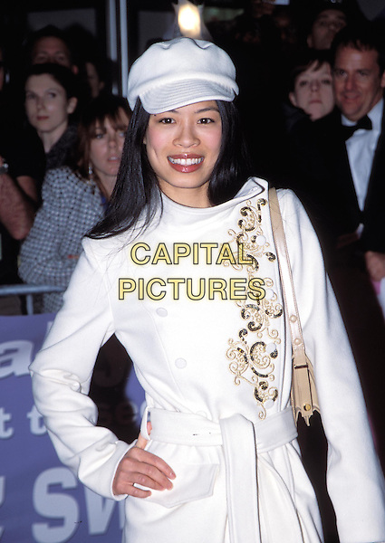 VANESSA MAE.Down With Love UK premiere, Odeon Kensington.half length, half-length, embroidered coat, baker boy cap, hat, hand on hip.www.capitalpictures.com.sales@capitalpictures.com.© Capital Pictures.
