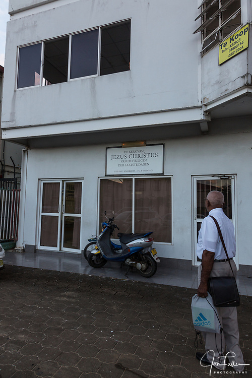 This building was rented by the Church of Jesus Christ of Latter-day Saints to serve as a meetinghouse for a small congregations in Paramaribo, Suriname.