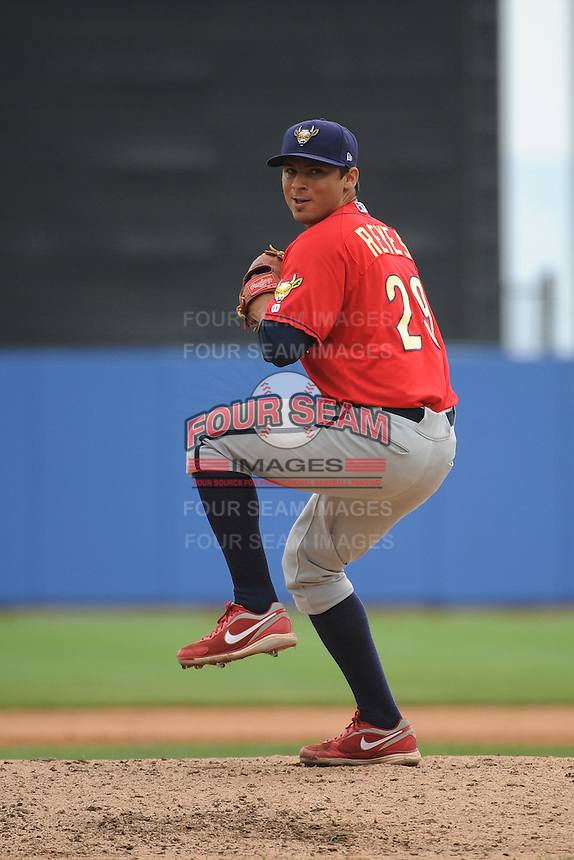 State College Spikes pitcher Arturo Reyes (29) during game against the Staten Island Yankees at Richmond County Bank Ballpark at St.George on August 8, 2013 in Staten Island, NY.  Staten Island defeated State College 6-5.  (Tomasso DeRosa/Four Seam Images)