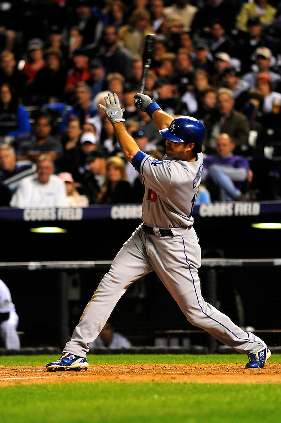 12 September 2008: Los Angeles Dodgers outfielder Andre Ethier at bat agains the Colorado Rockies. The Dodgers defeated the Rockies 7-2 at Coors Field in Denver, Colorado. FOR EDITORIAL USE ONLY