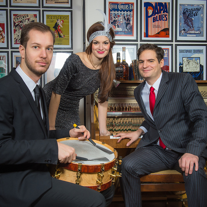 Thomas Racine, Gabrielle Jeanselme and Jean-Baptiste Franc  (l to r) at a photo-shoot by Andrew Lyndon-Skeggs for the cover of a new CD created by Gabrielle Jeanselme (vocal),  Jean-Baptiste Franc (piano) and Thomas Racine (drums / batterie). The photo-shoot took place at Paris Boogie Speakeasy, 256 Rue Marcadet, Paris, the unique private jazz club founded and run by Yves Riqquet. Thursday 13th February 2014.