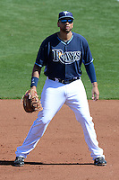 Tampa Bay Rays first baseman James Loney (21) during a spring training game against the Minnesota Twins on March 2, 2014 at Charlotte Sports Park in Port Charlotte, Florida.  Tampa Bay defeated Minnesota 6-3.  (Mike Janes/Four Seam Images)