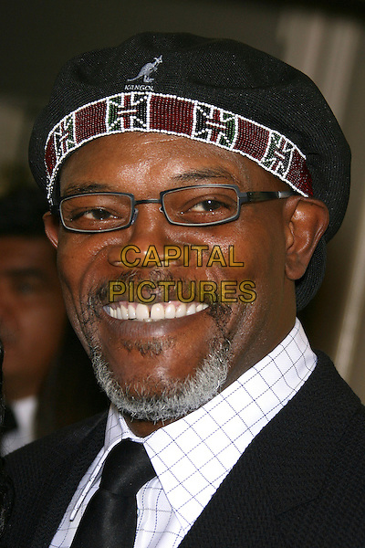 SAMUEL L. JACKSON.Archbishop Desmond Tutu Honored by Artists for a New South Africa for his 75th Birthday Celebration - Arrivals held at the Regent Beverly Wilshire Hotel, Beverly Hills, California, USA..September 18th, 2006.Ref: ADM/ZL.headshot portrait goatee facial hair glasses hat kangol.www.capitalpictures.com.sales@capitalpictures.com.©Zach Lipp/AdMedia/Capital Pictures.