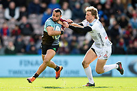 Joe Marchant of Harlequins fends Billy Twelvetrees of Gloucester Rugby. Gallagher Premiership match, between Harlequins and Gloucester Rugby on March 10, 2019 at the Twickenham Stoop in London, England. Photo by: Patrick Khachfe / JMP