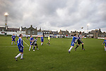 Action at Bellslea Park, during Fraserburgh's Highland League fixture against visitors Strathspey Thistle (in blue). Nicknamed 'The Broch,' Fraserburgh have been members of the Highland League since 1921 having been formed 11 years earlier. The match ended in a 2-2 draw in front of a crowd of 302.