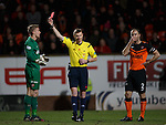 Dundee Utd keeper Michal Szromnik shown a straight red card by referee Calum Murray