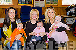 Rosie and Ella Curtin, Clodagh and Deirdre O'Connor, and Denise and Georgie O'Callaghan at the coffee morning for premature babies in Cordal Community Centre on Saturday morning