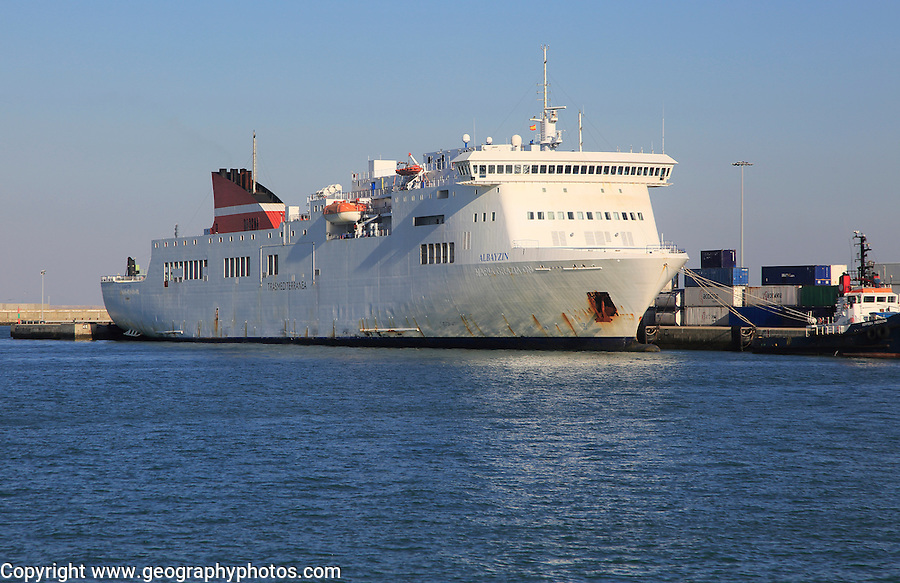 Trasmediterranea ferry ship Albayzin, in the harbour port of Cadiz, Spain