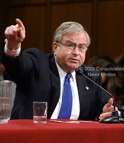 Washington, D.C. - March 24, 2004 -- Former Assistant to the President for National Security Affairs (National Security Advisor) Samuel R. (Sandy) Berger testifies before The National Commission on Terrorist Attacks Upon the United States (also known as the 9-11 Commission) in Washington, D.C. on March 24, 2003. <br /> Credit: Ron Sachs / CNP<br /> [RESTRICTION: No New York Metro or other Newspapers within a 75 mile radius of New York City]